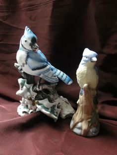 """Sold $9.98 /// Lot of 2 Vintage Ceramic Winter Time Blue Bird Figurine Collectible 5 1/2"""" Tall"""
