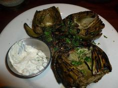 Grilled Artichoke from Rutherford Grill Napa.great outdoor area & bar in nice weather Grilled Artichoke, Artichoke Recipes, Rutherford Grill, Grilling Recipes, Wine Recipes, Order Food Online, Food Out, Cabbages, Easter Dinner
