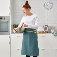 SANDVIVA Waist apron, blue - IKEA Waist Apron, High Waisted Skirt, Cotton, Barbecue, Cooking, Easy, Products, Half Apron, Blue Apron