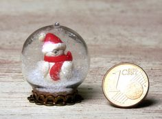 Miniature Christmas Snow Globe with Snowman for Your by DinkyWorld