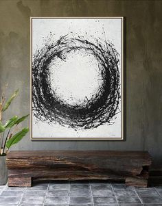 Hand-painted geometric art black and white Minimal painting on canvas – CZ Art Design Tinta China, Minimalist Painting, Circle Art, Black And White Painting, Office Art, Texture Painting, Geometric Art, Canvas Artwork, Art Techniques