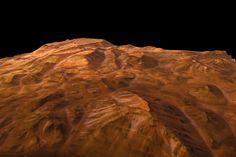 Cette image, prise en janvier 2004, est la première vue de la planète Mars alliant à la fois la haute définition et la perspective en trois dimensions. Obtenue et rendue publique au tout début de la mission de Mars Express, elle marque le grand succès de cette première sonde planétaire européenne et démontre sa grande qualité scientifique et technique. Le paysage imagé fait 50-70 km de large et montre la succession de falaises et de mesas au sein du grand canyon martien de Valles Marineris…