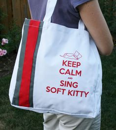 Big Bang Theory Inspired Soft Kitty Tote Bag. $15.00, via Etsy.    Who watches the Big Bang Theory