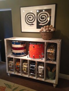 Girls dresser into drum storage & Drum room: Snare collection; signed drum heads | Practice Room ...