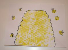 bubble wrap beehive & use thumbprints to make honey bees & big ol' lazy bumblebees