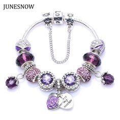 Women New European Antique Silver Purple Rhinestone Charm Handmade Charms Pandora Bracelet