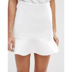 ASOS Scuba Mini Skirt with Pep Hem ($28) ❤ liked on Polyvore featuring skirts, mini skirts, white peplum skirt, asos mini skirt, short white skirt, short skirts and peplum mini skirt