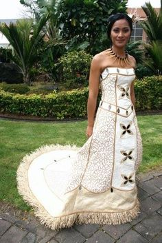 Island bride in a beautiful gown made of tapacloth