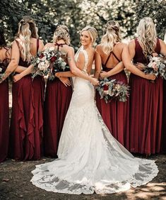 """14 Likes, 1 Comments - YOUR WHITE BOOK (@yourwhitebook) on Instagram: """"✨✨ SCARLETT ✨✨ We love these scarlett red bridesmaids next to the stunning bride. Perfect for a…"""""""