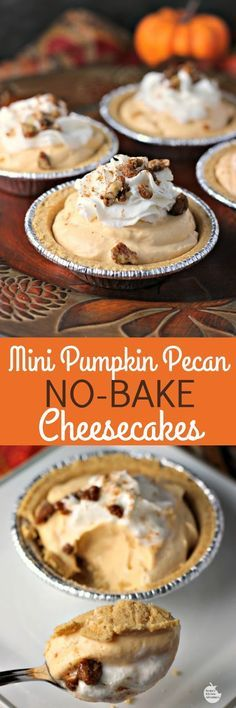 Mini Pumpkin Pecan No-Bake Cheesecakes   by Renee's Kitchen Adventures - easy dessert recipe for little pumpkin cheesecakes perfect for Thanksgiving or Christmas holidays #EffortlessPies ad @realreddiwip @dannonoikos
