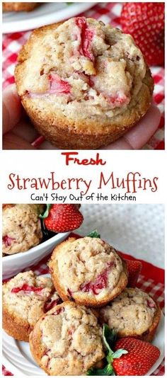 Fresh Strawberry Muffins are really sweet muffins with a nice, moist texture and delicious taste. There's nothing unusual about these muffins - they have lots of fresh strawberries and cinnamon - and they're incredibly easy to make. They have only 8 ingre Breakfast Desayunos, Breakfast Recipes, Recipes Dinner, Pasta Recipes, Crockpot Recipes, Soup Recipes, Easy Breakfast Muffins, Vegetarian Recipes, Chicken Recipes