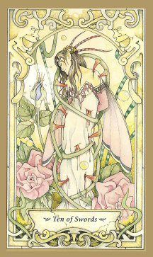"""(2014-06-04) Ten of Swords  Mystic Faery Tarot by Linda Ravenscroft: """"All that anger you're turning inward isn't doing you any good at all. You're only putting more pressure on yourself to be perfect. It makes no sense for you to be open and welcoming of others and their faults, but not of your own. Stop it! Seriously. Just Stop It!"""" ~springwolf.net"""