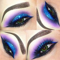 Dramatic blue glitter makeup