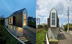 The owner bought a tiny triangular lot and built this tiny house to fit!