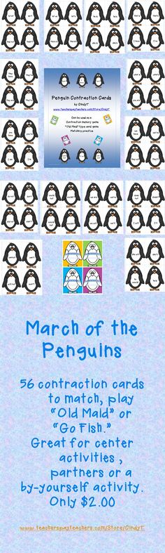 $2.00  Penguin Contractions-so many cards included it is like getting 3 or 4 activities for the price of 1!