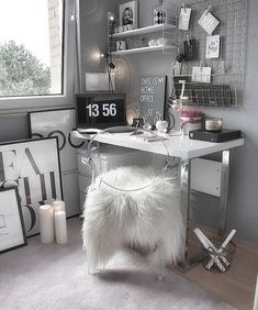 Dream Rooms For Women Home Office - Decoration Home Study Room Decor, Cute Room Decor, Room Ideas Bedroom, Bedroom Decor, Grey Room Decor, Interior Design Career, Home Office Design, Home Office Decor, Office Ideas
