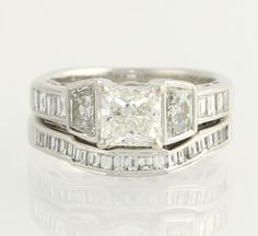 Wedding Set 1.61ctw Princess Diamond Engagement by WilsonBrothers, $5799.99