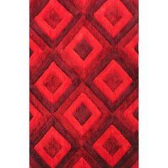 "Ebern Designs Blocker Red Area Rug Rug Size: 7'11"" x 9'10"""