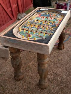 An old pachinko game was repurposed into a conversation-piece table.