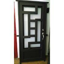 Wrought iron security door outside pinterest wrought for Puertas de herreria forjada
