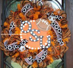 OSU Cowboys Oklahoma State Football Deco Mesh Wreath by myfriendbo, $80.00