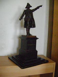 Seltene alte Metallguss Figur Friedrich der Grosse von Gladenbeck  52 cm hoch