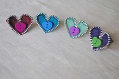 Zipper heart rings from habercraftey.