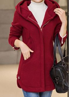 Curved Hooded Collar Zipper Up Wine Red Coat Coats For Women, Jackets For Women, Clothes For Women, Mode Emo, Winter Outfits Women, Mode Hijab, Korean Fashion, Winter Fashion, Fashion Outfits