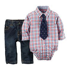 jcp | Carter's® Plaid Shirt, Jeans and Clip-On Tie Set - Baby Boys newborn-24m