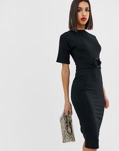 690e26699e1e08 DESIGN rib midi dress with ring detail