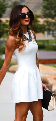 adorable short #white #dress ... Check out the web portal for 5 wonderful looks with a majority of these appealing white dress check http://topfashiondesigners.us/5-perfect-looks-with-white-dress/