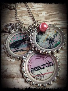 "Search"" Theme Bottle Cap Message Necklace by bluedivacreations on Etsy"