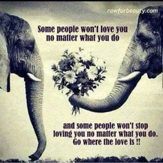 Some people won't love you no matter what you do..and some people won't stop loving you no matter what you do. Go where the love is!