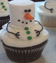 Create a marshmallow snowman cupcake