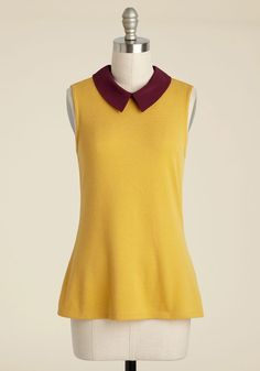 Declare and Contrast Sweater in Sunshine. Once you have your pals' attention, announce the ways this mustard yellow top both complements your personality and stands out from the rest of your wardrobe. #yellow #modcloth