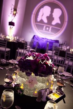 Purple wedding decor with projected silhouettes