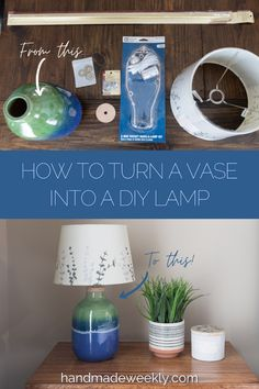 Detailed tutorial with step by step photos showing how to turn a vase into a DIY lamp. Turn any vase into a custom lamp using a lamp kit and a few common household tools. Create your own DIY lamp for a fraction of the store bough lamp prices! #diylamp #vaselamp #howtomakealamp #lampkit Home Projects, Craft Projects, Make A Lamp, Make Your Own, How To Make, Vase, Have Some Fun, Diy Tutorial, Diy Home Decor