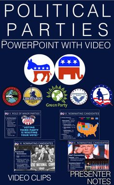 Political Parties PowerPoint w/video clips & presenter notes Teaching Us History, Teaching Resources, History Education, Political Party, Political Science, Teaching Government, Libertarian Party, Primary Election, Us Politics