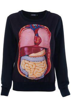 Visceral Organ Print Black Sweatshirt