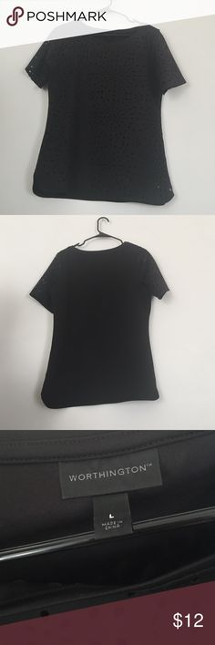 Worthington black stencil cut shirt size large Worthington black stencil cut shirt size large Worthington Tops Tees - Short Sleeve