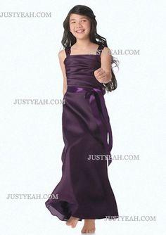 A-Line Square Tea-Length Chiffon Flower Girl Dress