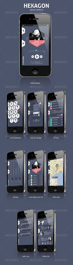 Hexagon Mobile UI  #GraphicRiver         Hexagon UI is destined to work good on iphone 4 & 5 mobile devices.