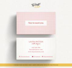 Red squared business card squared pattern by TeaAndHoneyStudio