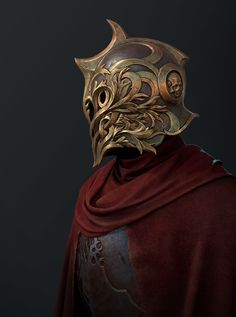 Fantastic embellishments, interesting as a uniform helmet for an elite guard or something along those lines perhaps Fantasy Character Design, Character Concept, Character Art, Fantasy Armor, Dark Fantasy Art, Armor Concept, Concept Art, Fantasy Inspiration, Character Inspiration
