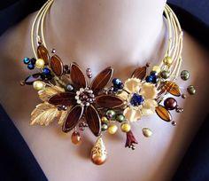 Brown Czech Glass Pearl Wired Flower Brass Choker and Earrings Set - VIRR