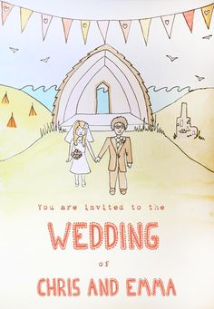 Emma's hand drawn wedding invitation - Emma and Chris