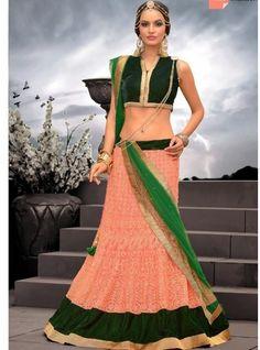 Awesome Pink Designer Lehenga | Net Embroidery Party Wear Lehenga