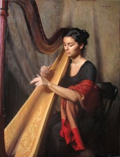 Teresa on the Harp by Henry Wingate  Oil Painting $12,500.  Henry accepts commissions.