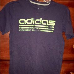 Running shirt Adidas running shirt. Dark blue with lime green writing. Adidas Tops