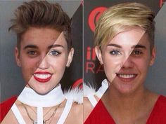 And so it begins... (justin bieber turns into miley cyrus)
